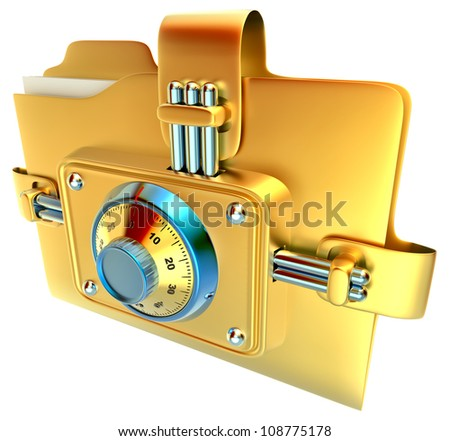 folder with golden combination lock stores confidential documents - stock photo