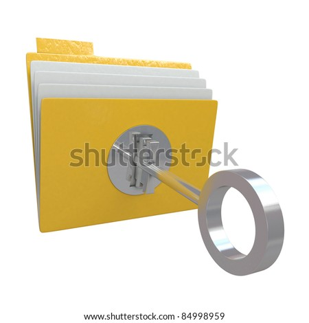 Folder with lock and key isolated on white background - stock photo