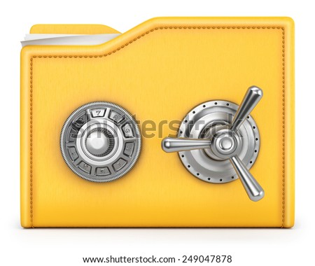 folder with safe lock. isolated on white background. - stock photo