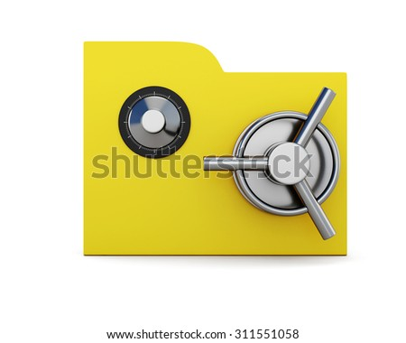 Folder  with safe lock isolated on white background. 3d.