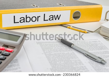 Folder with the label Labor Law - stock photo