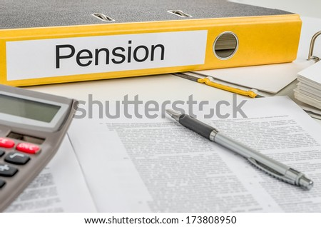 Folder with the label Pension - stock photo