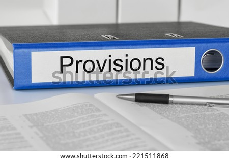 Folder with the label Provisions - stock photo