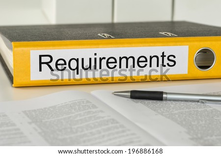 Folder with the label Requirements - stock photo