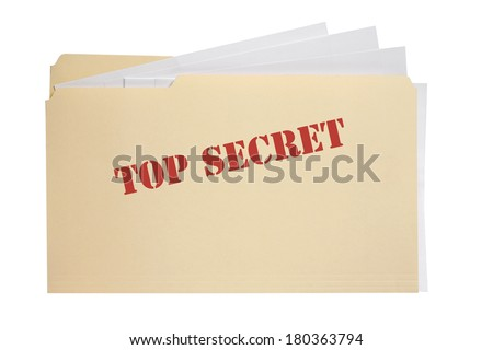 Folder with words top secret on front with white background - stock photo