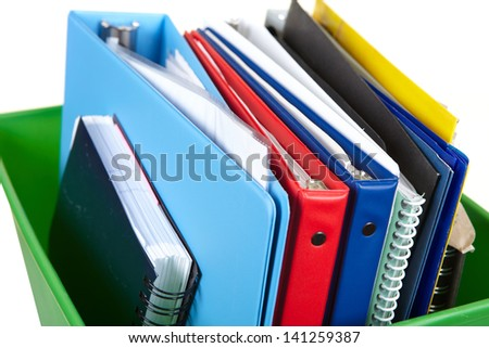 Folders and documents on a white background