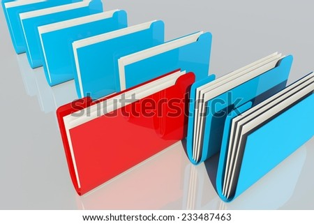 folders and documents organized in a row - one red folder out - selected