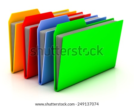 folders and files on a white background - stock photo
