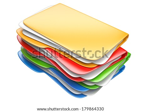 Folders and files. Storage information concept. 3D illustration isolated on a white. - stock photo