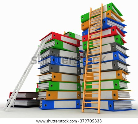 Folders and ladders. Conception of career advancement. 3d illustration on white background