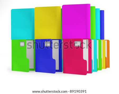 Folders. Colorful 3D illustration