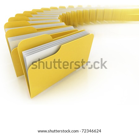 folders in rush 3d concept - many folders on the white background - stock photo