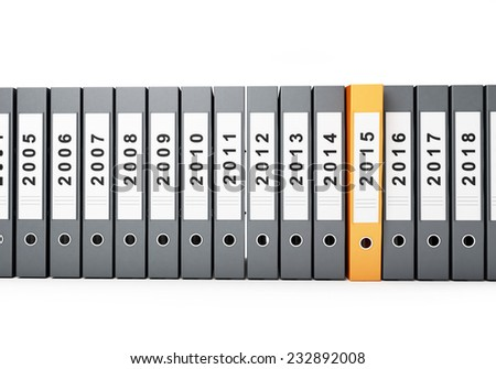 folders new year 2015 on a white background  - stock photo