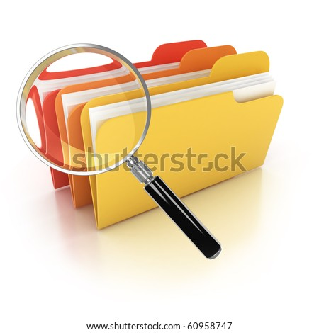 folders search 3d icon - folders under the magnifier isolated on white - stock photo