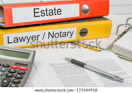 Folders with the label Estate and Lawyer - stock photo