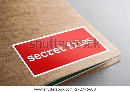 Folders with the label: secret files - stock photo