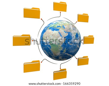 Folders world network structure Elements of this image furnished by NASA - stock photo