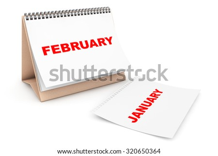 Folding Calendar with February month page on a white background