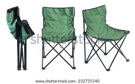 Folding chair isolated on white background - stock photo