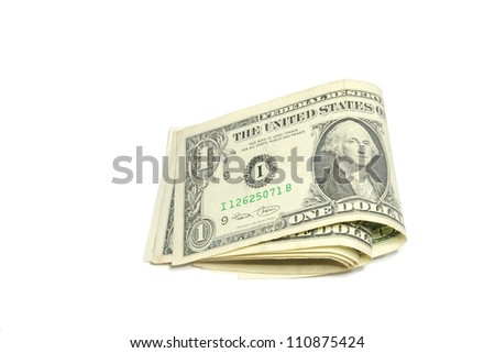 Folding dollar bills isolated