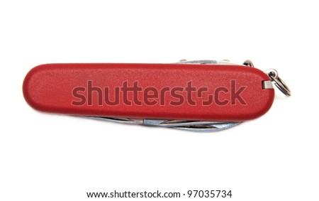Folding knife isolated on white background - stock photo