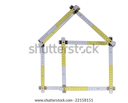 ... up in shape of a house, isolated on a white background. - stock photo