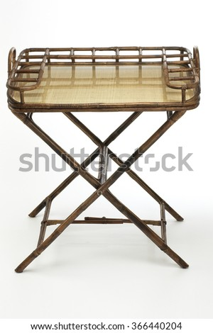 Folding tray table on white background