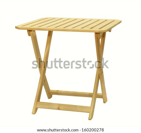 Folding wooden table on a white background - stock photo