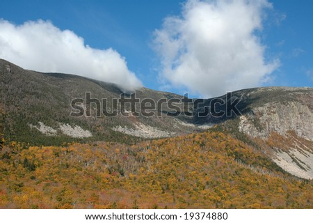 Foliage at Crawford Notch, New Hampshire, on a clear fall day