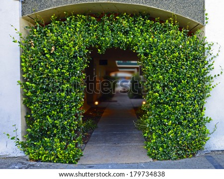 Foliage Covered Archway Entry to Alley - stock photo