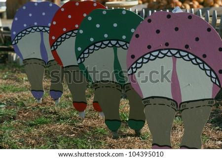 Folk Art Cutouts Women Bending Over Stock Photo Royalty
