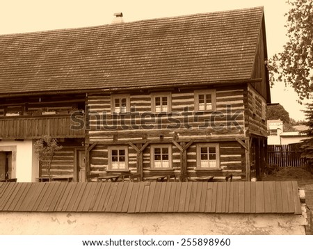 Folk wooden cottage in northern Bohemia, typical log cabin - stock photo