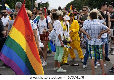 Folks marching at the Christopher Street Day in Berlin July 23, 2016 - stock photo