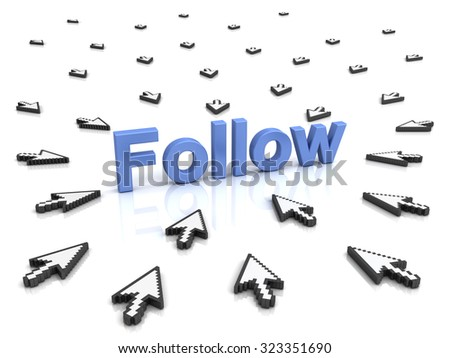Follow concept many arrow cursors mouse clicking follow button or link on isolated white background with reflection - stock photo