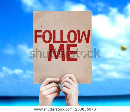 Follow Me card with a beach on background