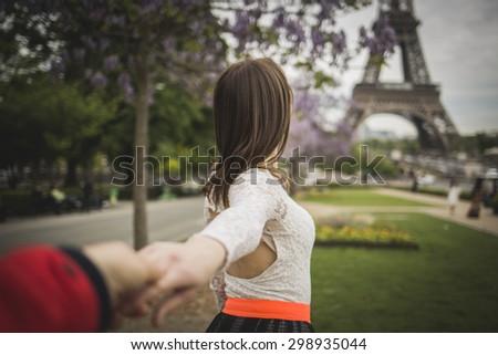 Follow me travel to the Paris - stock photo
