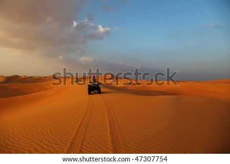 Follow My Trail On A Race In The Desert - stock photo