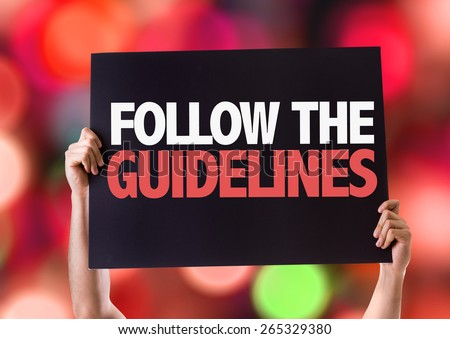 Follow the Guidelines card with bokeh background - stock photo