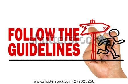 follow the guidelines concept hand drawing  - stock photo