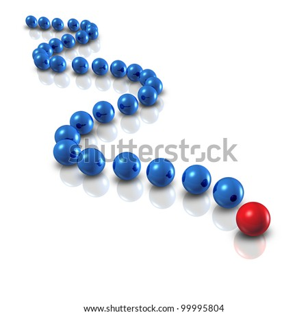 Follow the leader and power leadership concept with blue spheres as followers and a single red ball as the authority guiding with a plan and business group strategy for team success on white. - stock photo