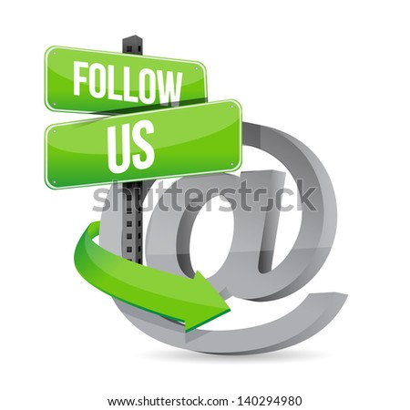 follow us at sign illustration design over white - stock photo