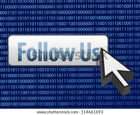 Follow us binary design and cursor illustration design