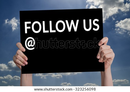 Follow Us card with cloud background - stock photo
