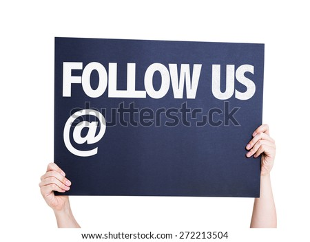 Follow Us with a copy space card isolated on white - stock photo