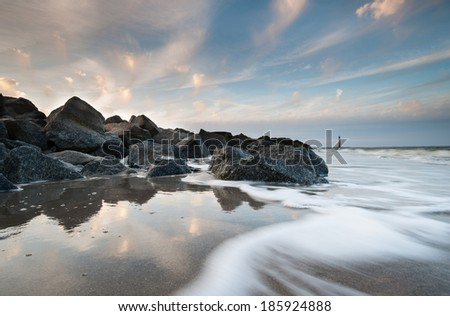 Folly Beach Charleston Harbor Morris Island Lighthouse Sunset Landscape - stock photo