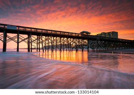 Folly Beach Pier Charleston South Carolina Vibrant Sunset on the Beach