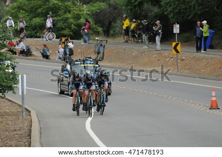 FOLSOM, CA - MAY 20:  The Hagens Berman | Supermint Pro Cycling Team competes at the 2016 Amgen Tour of California Womens Team Time Trial on May 20, 2016 in Folsom, CA.