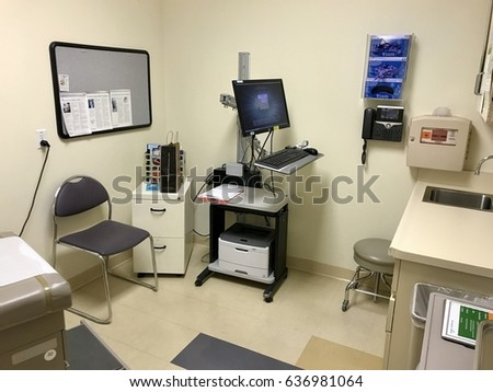 FOLSOM, CA, USA - APR 4, 2017: Kaiser Permanent Medical Doctor office , with hospital equipment