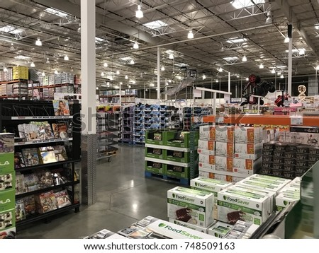FOLSOM, CALIFORNIA, USA - OCT 3, 2017: Costco wholesale warehouse shopping aisle for various Christmas gifts,  a members only club.