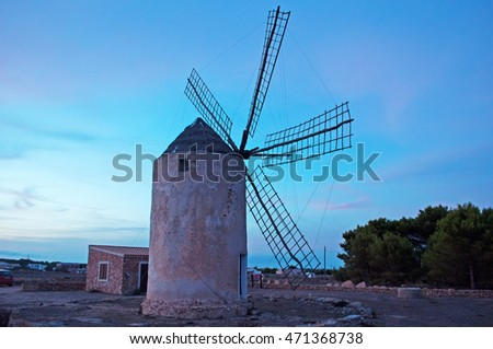 Fomentera, Balearic Islands: Moli Vell de La Mola at sunset on September 2, 2010. Moli Vell de La Mola is an old windmill built in 1778 and is the best preserved of the island